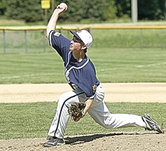 Staff photo by Steve Muscatello New Ulm Legion Blue starting pitcher Nathan Hauser tosses a pitch during an Upper Midwest Classic game against Le Sueur-Henderson on Saturday in Essig. For more photos of this event go to cu.nujournal.com