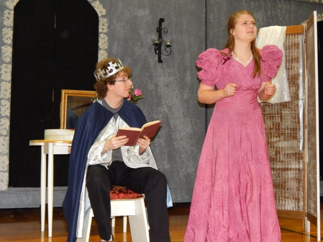 "Prince Dauntless (Brendan Gaborik), left, and Winnifred the Woebegone (Bethany Seifert), ponder an issue. in the Sleepy Eye Community Theater production of ""Once Upon a Mattress."""