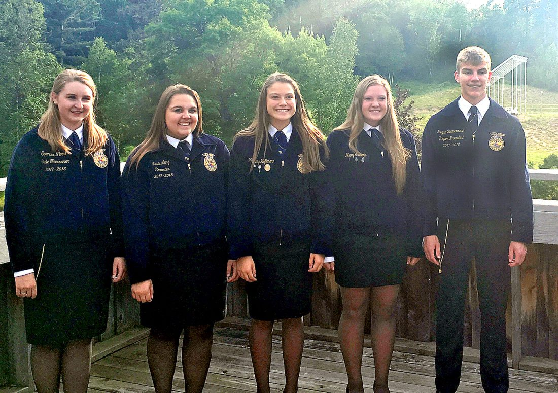 Submitted photo Sleepy Eye FFA members attended State Leadership Camp for Chapter Leaders at Hackensack, MN June 28-30, 2017. Front from left: Spencer Flood (State Treasurer), Josie Lang, Cassidy Hoffmann, Macy Schenk, Kegan Zimmerman (Region VI President).