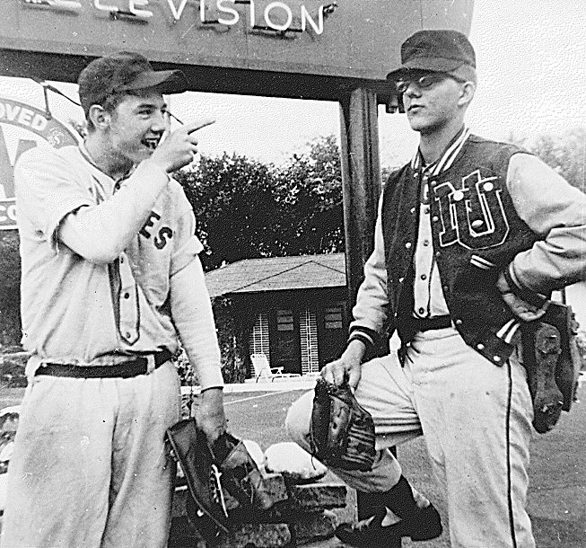 Dennis Sperl (left) and Mike Olson in their 1959 New Ulm baseball uniforms.