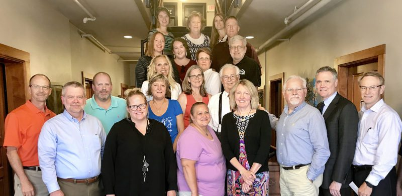 Submitted photo Grant Recipients Back Row: Kate Denney, Homelessness Project; Trudy Beranek, New Ulm Area Concert Assn.; Stacy Merkel, Network New Ulm Youth; Peter Roufs, Lafayette Charter School; 2nd Row: Marnie Leist, Brown County Historical Society; Christina Miller, Turner Hall; Nancy Wichmann, Kids X-Cel; Sheldon Reike, Healthy Community Healthy Youth; Third Row: Shannon Hillesheim, Network New Ulm Youth; Paula Anderson, New Ulm Suzuki School of Music; George Glotzbach, Hermann Monument Society; Front Row: Robert Wise,  Grants Chairman; Jeff Braegelmann, Director NUAF; Seth Vissar, Bavarian Blast;  Virginia Suker Molden, Turner Hall;  Kristy Paulson, Bavarian Blast;  Kari Berans, Pro Kinship for Kids; Anne Makepeace, Grand Center for Arts and Culture; Dan Hoisington, Turner Hall;  Mike Boyle, Director NUAF; Bill Otis, Director NUAF.