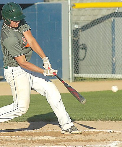 File photo Sleepy Eye's Kyle Windschitl drives a pitch during a recent game in Sleepy Eye.