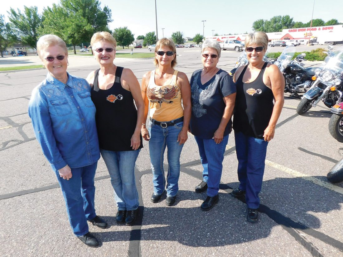 For some of the gang the weekly motorcycle trips is a mini-family reunion. Mary Rewitzer, Shirl Huiras, Judy Schewe, Annie Albaugh and Doris Loverude are all sisters. The bike trips are great chance to spend time together.