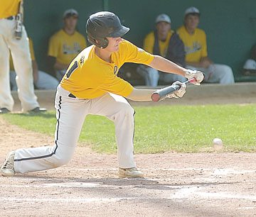 File Photo  New Ulm VFW Noah Hauge lays down a bunt during a recent game at Johnson Park in New Ulm.