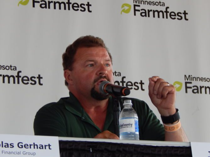 Staff photo by Fritz Busch  United Farmers Cooperative CEO Jeff Nielsen talks at a Farmfest feature forum about rural health at Gilfillan Estate Tuesday. Farmfest continues Wednesday and Thursday.