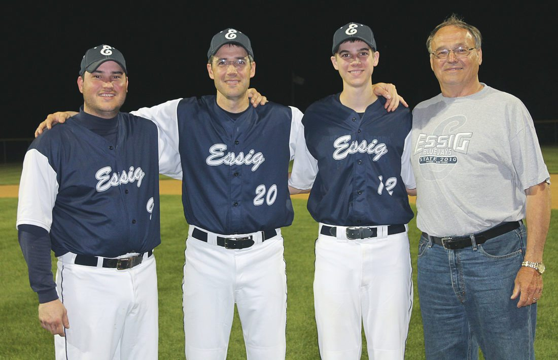 Photo courtesy of Terry Helget Amateur baseball is a family affair for the Helget family. Terry Helget poses with his family. From left: brother Kyle, Terry, son Jay, father Marlin.