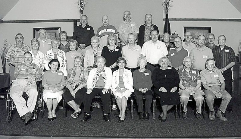 Holy Trinity High School Class of 1957 held its 60th class reunion recently at the New Ulm Country Club. In front, from left, are Tony Nierengarten, Connie Boettger Powell, Geri Postel Isackson, Rosie Sprenger Kuck, Joanne Berger Christensen, Dorothy Schreiner Deegan, Kay Wiltscheck Dittrich, Tom Berg and Tony Sellner. In the middle row, from left, are Joe Dummer, Jeanne Bushard Kretsch, Vern Hegler, Anita Berg Koplyay, Carol Tauer Fluegge, Joann Tomaschko Patterson, Doris Hoffmann Christine, Ruth Hoffmann Tauer, Joe Rotering, Luverne Klinkner, Leon Wendinger, Eric Woratschka, Bob Polta, Julian Griebel, Jerry Peters and Bob Forst. In back, from left, are Bill Baumann, Earl LaPlante, Joe Lieb and Mike Gag.