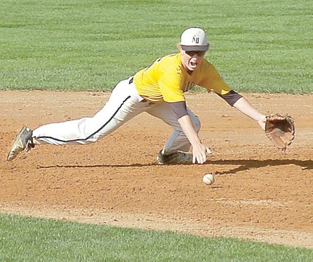Staff photo by  Steve Muscatello New Ulm VFW Golf second baseman Teagan Kamm dives for the ball during New Ulm's state tournament game against Furgus Falls in Willmar. For more photos of this event go to cu.nujournal.com