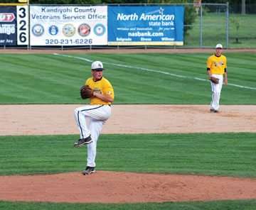 Photo courtesy of Hunter Kral New Ulm VFW Gold's Nolan Drill delivers a pitch at the VFW state baseball tournament on Friday in Willmar as Teddy Giefer looks on. Gold went 1-1 on the day and will play on Saturday.