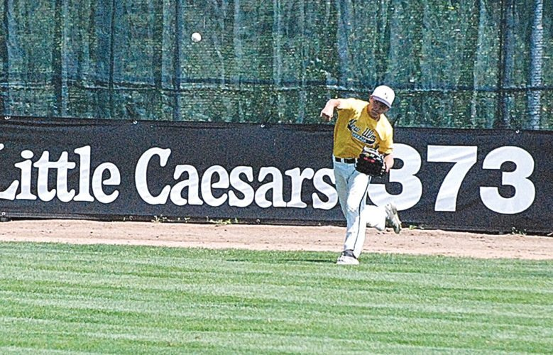 Photo courtesy of Hunter Kral New Ulm Gold's Jaden Domeier makes a throw from the outfield at the VFW state baseball tournament on Friday in Willmar. Gold finished fourth in the tournament.