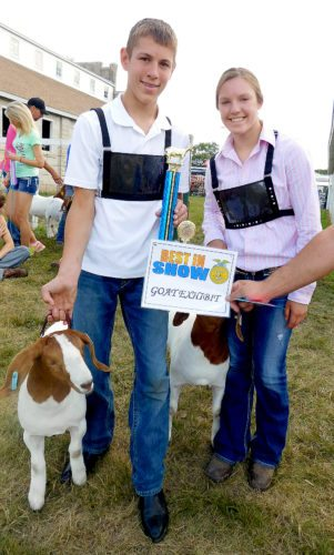 Staff photo by Clay Schuldt Noah and Samantha Richert took top honors in the Brown County Fair's 4-H goat show on Saturday.