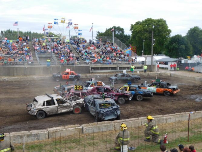 Staff photo by Clay Schuldt  The Brown County Demolition Derby concluded Sunday afternoon with four classes of vehicles going hood to hood to wreck each other.