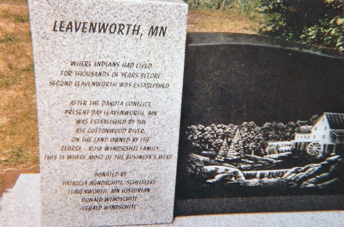 A historical marker placed on the George and Rose Windschitl homestead in 2012 describes and depicts parts of the Second Leavenworth.