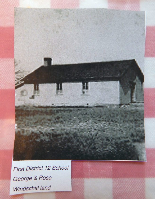 The First District 12 School was built on George and Rose Windschitl's land.