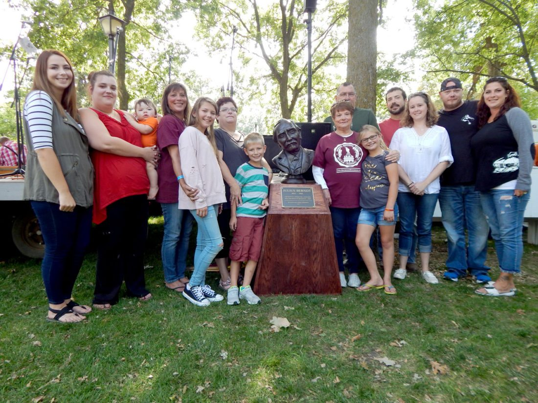 Staff photo by Fritz Busch Four generations of descendants of Julius Berndt attended the unveiling of his bust at Hermann Heights Park Saturday afternoon. The group includes Ruthie Stoll of New Ulm, standing just to the right of the Berndt bust. See more photos on page 8A.