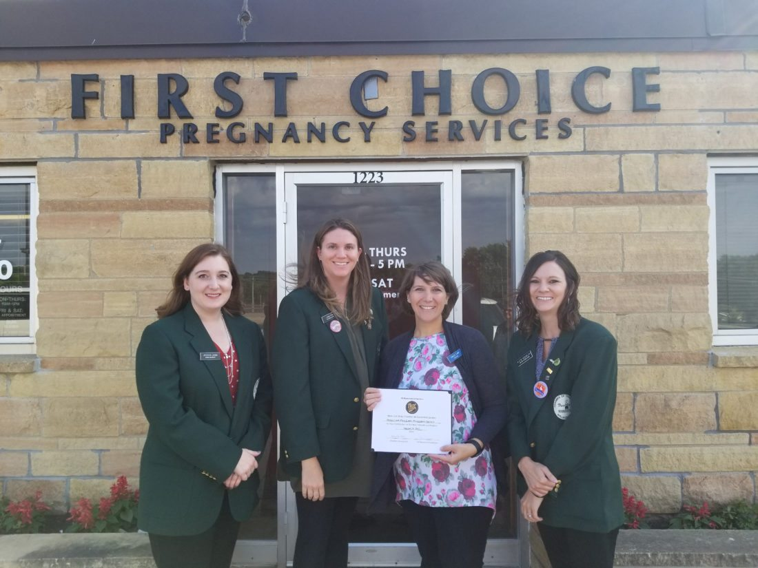 In the photo are: Jessica Janni, Bank Midwest; Lynn Fink, Citizens Bank Minnesota; Darcy Lund, First Choice Pregnancy Services; Katie Nosbush, United Prairie Bank.