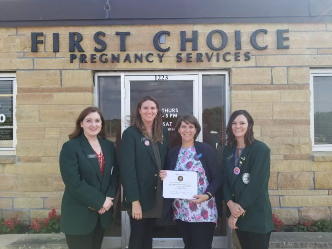 In the photo are: Jessica Janni, Bank Midwest; Lynn Fink, Citizens Bank Minnesota; Darcy Lund, First Choice Pregnancy Services; Katie Nosbush, United Prairie Bank.