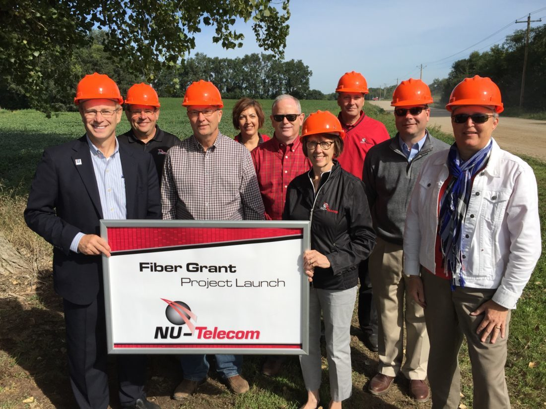Submitted photo  Pictured at the project launch that was recently held in rural Hanska are, from left, front row, Bill Otis (NU-Telecom), state Rep. Paul Torkelson (R-Hanska), Barb Bornhoft (NU-Telecom), Jane Leonard (DEED/OBD); back row, Steve Morasch (NU-Telecom), Kathy Lund (NU-Telecom), Mark Mrla (Finley Engineering), Monty Morrow (NU-Telecom) and Craig Anderson (NU-Telecom).