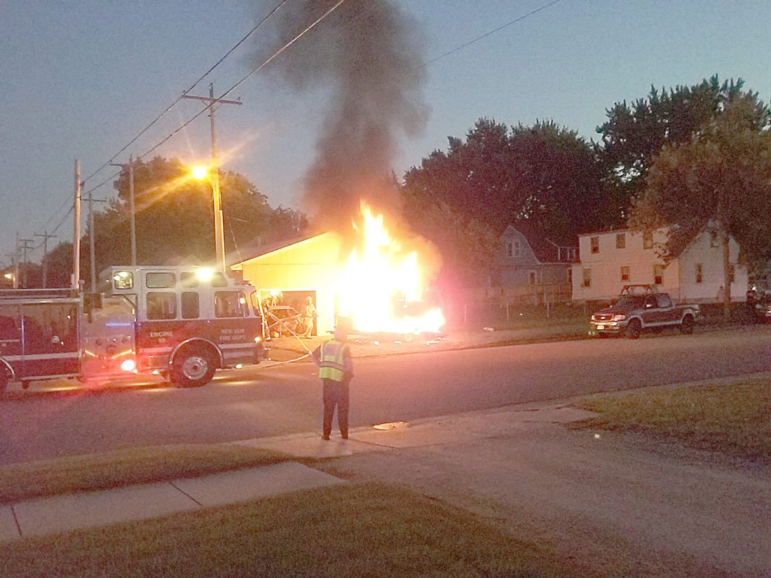 Staff photo by Clay Schuldt  The New Ulm Fire Department responded to a van fire at 1226 N. State St. Wednesday night.