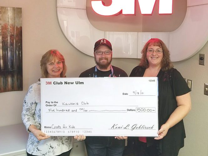3M Club of New Ulm donated the proceeds of the Annual Golf Outing totaling $500 to the New Ulm Kiwanis Club for Coats for kids. Pictured are L-R Sandy Stuckert and Keith Besemer (both of 3M club) and Lisa Toltzman (New Ulm Kiwanis).
