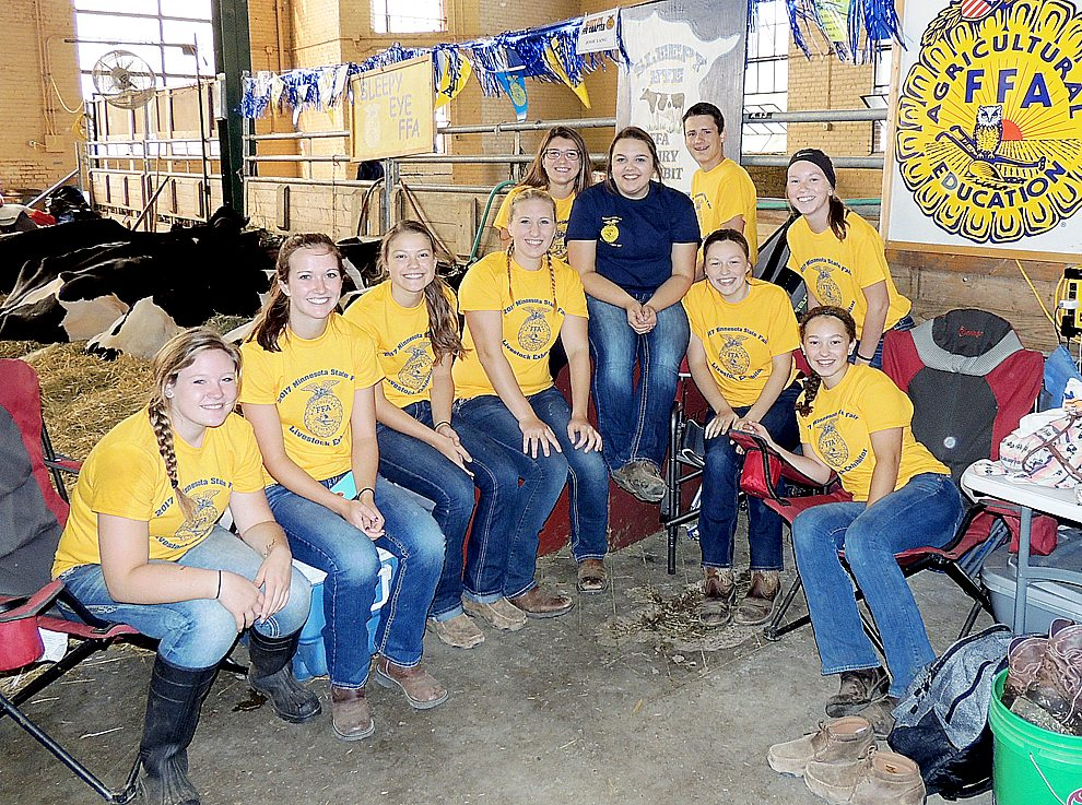 Submitted Photo The Sleepy Eye FFA Exhibitors had an amazing time at the State Fair. This group worked very hard and had fun while doing it. Pictured from L to R: Macy Schenk, Brianna Polesky, Cassidy Hoffmann, McKenzie Cselovszki, Lauren Klein, Josie Lang, Isaac Nelson, Maranda Braulick, Hanna Himmelman, Martina Neinhaus.