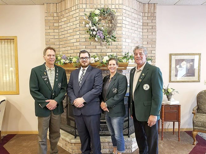Submitted photo  In the photo are: Randy Schroeder, Frandsen Bank & Trust; Blake Stiernagle, Minnesota Valley Funeral Home; Andrea Boettger, Design Home Center; and Brian Serbus, SouthPoint Financial.