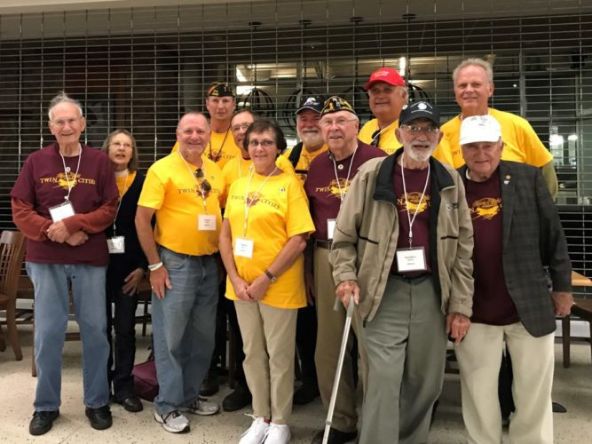 Submitted photo  Twelve New Ulm residents and former residents participated in a one-day visit to Washington D.C. on Saturday, Sept 30, with the Honor Flight Twin Cities organization. The idea to take 10 New Ulm WWII veterans was the brain child of former NU resident Bruce Lambrecht who pitched it to Veterans Service Officer Greg Peterson. Although an initial group of 10 veterans signed up, only four were able to make the grueling trip. Pictured, left to right, veterans and escorts Harvey Veit, Veit's daughter Brenda Braun, Dean Warta, Greg Peterson, Brian Martens, Diane Warta, Tom Roesch, Carl Martens, Bruce Lambrecht, Richard Roesch, Craig Shavlik and Deny Warta. Thirty-six WWII and 41 Korean War veterans and their escorts and several support team took the trip. More photos are available on Brown County Veterans Service's Facebook page.