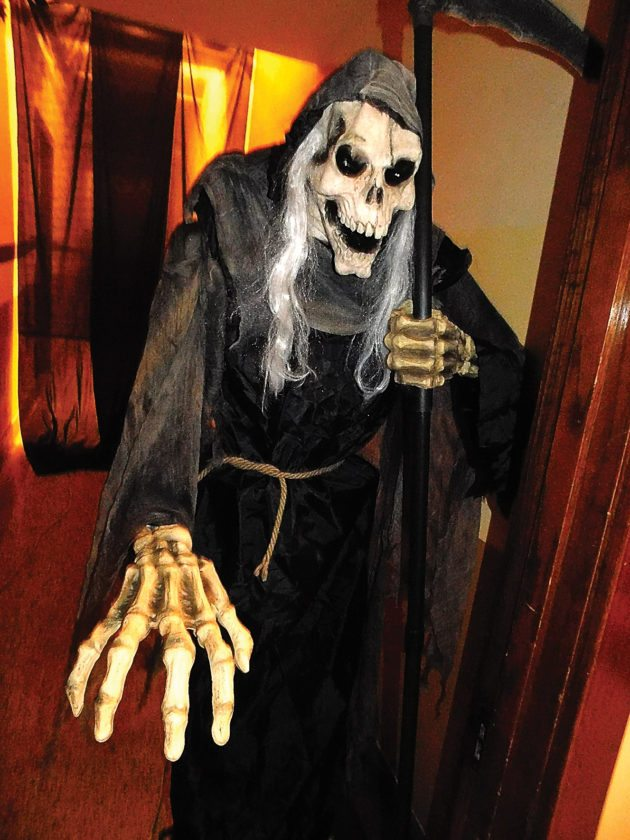 """Staff photo by Clay Schuldt Visitors to the State Street Theater's """"ScaritageFest"""" will be greeted by this spooky figure."""