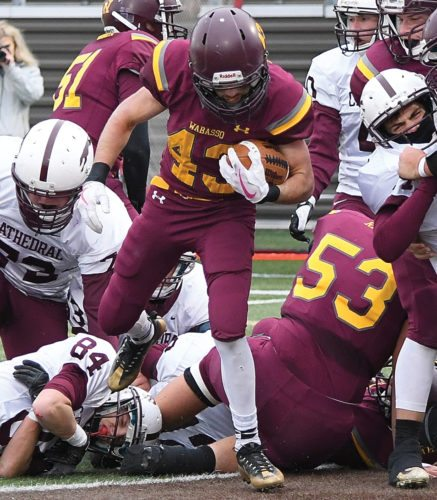 Photo courtesy of Don Borstad Wabasso's Cooper Taylor (43) steps into the endzone for a touchdown against Cathedral on Saturday in Marshall.