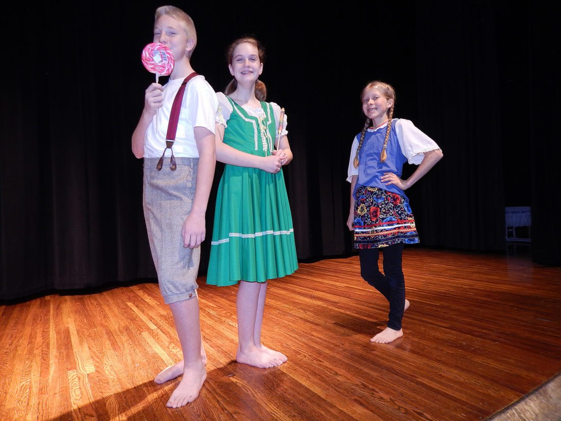 From left, Hansel (Brendon DeVries), Gretel (Katherine Boston), and Goldilocks (Claire Fischer).