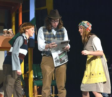 Submitted photo From left: Emma Maudal (Charlie Bucket), Augie Babel (Mr. Bucket), and Abigail Allen (Mrs. Bucket).