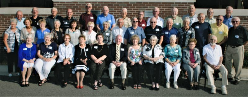 Submitted photo  The New Ulm High School graduating class of 1957 decided to give back to the school after their reunion over the summer by starting a new Community and Alumni Scholarship. Pictured, left to right, front row: Sharon Duerr, Rhelda Riley, Bonnie Bastian, Lorna Lipsey, Delores Schewe, Lee Beecher, Carol Carland, Jill Wagner, Gladys Stolte, Helen Wischstadt and David Schneider; second row, Phillis Aschenbrenner, Mary MClellan, Maureen Smith, Judie Hansen-Winden, Joan Aune, Patricia Rockvam, Roberta Hintz, Jim Scheible, Wayne Hughes, Tom Zupfer, Glenn Peterson, Mary Lee Schotzko, Bill Strate, Paul Krueger and Dave Leske; third row, Howard Aschenbrenner, Joel Erickson, Gene Bieraugel, Jerry Ubl, Duane Pipping, Mike Stolte, Les Young, Dallas Herrick, Florian Drexler, Nolan Tobias, Don Mathiowetz, Nick Gulden and Bill McCleary.