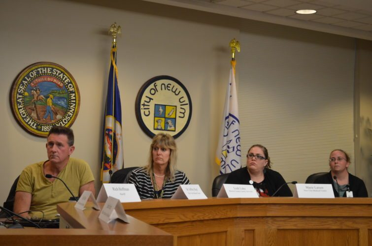 Staff photo by Connor Cummiskey  Members of a panel of local stakeholders listen to questions posed by staff members of Sen. Amy Klobuchar's office about the local impact of the opioid crisis. Pictured left to right, Dr. Jeffrey Rayl, Leah Lake, Marie Larsen and Jennifer Eckstein. Not pictured but present, Sheriff Rich Hoffman, Chris Swenson, Jolene Hanson and Klobuchar staffers Sarah Franz and Kyle Olson.