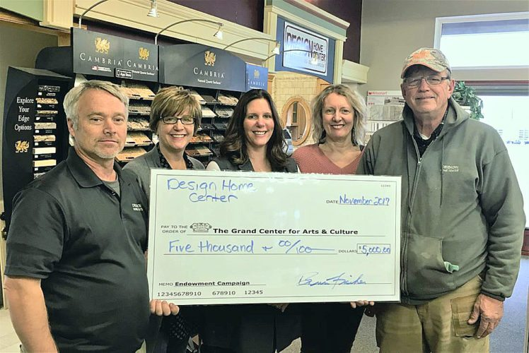 Design Home Center recently donated $5,000 to the Grand Center for Arts & Culture endowment fund. From left are Brian Fischer, Design Home Owner, Tori Gronholz, Grand Board Chair, Andrea Boettger, Design Home bookkeeper and Grand Board Member, Anne Makepeace Executive Director, The Grand and Thomas Dittrich, Design Home Owner