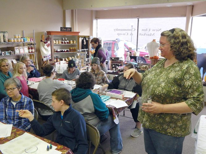 Staff photo by Fritz Busch Joanne Svendson of New Ulm leads a soap-making class at the New Ulm Community Market & Co-op, 506 1st St. N. Dec. 2. The Market sponsors a class on deep winter greenhouse gardening at the New Ulm Public Library at 6:30 p.m., Jan. 23.