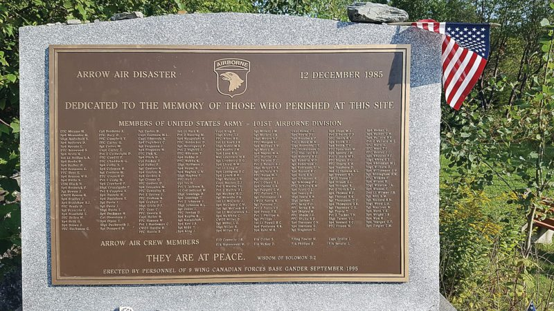 Photos taken at Gander, Newfoundland were provided by Susie and Jeff Pelzel of Sleepy Eye who visited the site earlier this year. Above, a plaque carries the names of all who were killed in the crash.