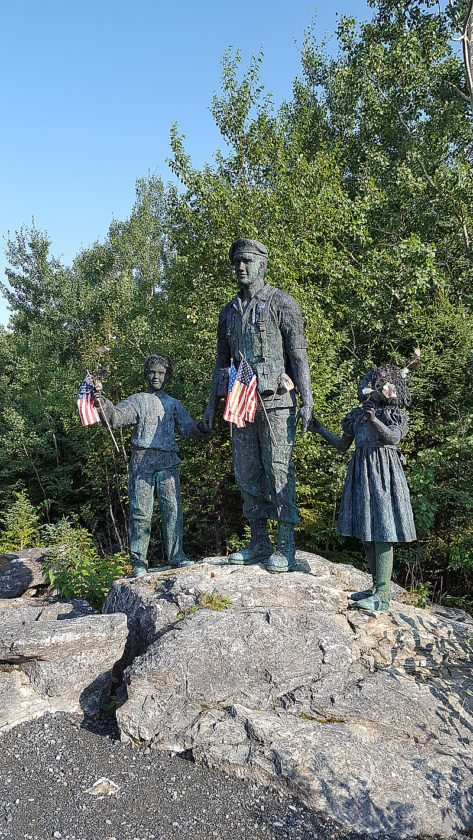 Statues at the New Foundland memorial pay tribute to the military soldiers who died in the crash.