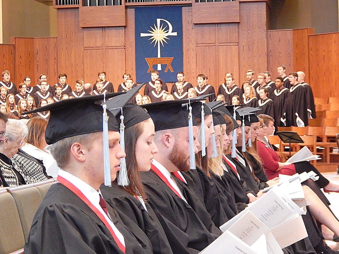 Staff photo by Fritz Busch  The Martin Luther College winter graduates and choir participate in the Commencement Service Dec. 14.