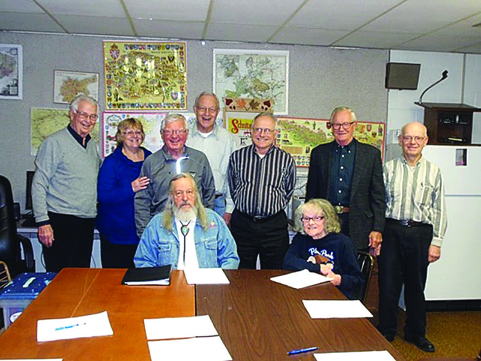 Submitted photo courtesy of George L. Glotzbach    Seated, left to right. Hank Exoo, Linda Meidl. Standing, left to right, George Glotzbach, Annie Fischer, Pat Eckstein, Roy Joel, Harvey Stadick, Gerhard Christ,  Roger Mohr.