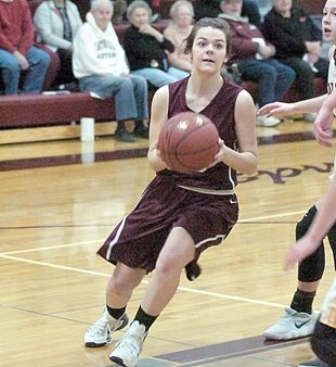 File photo by Steve Muscatello New Ulm Cathedral's Abby Furth looks to shoot the ball during a recent game at CHS.