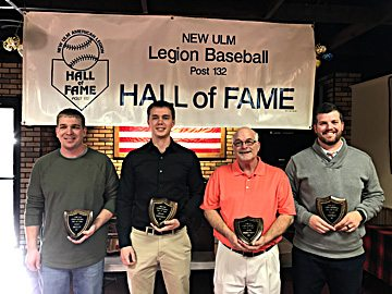 Photo courtesy of Bob Skillings The New Ulm Legion inducted four new members to the Hall of Fame on Saturday. They were (l-r) Scott Knisely, Brady Mosenden, Vern Kitzberger and Tyler Morgan.