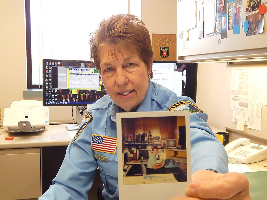 Staff photo by Fritz Busch  New Ulm Police Department Senior Administrative Assistant Judy Gramentz retires after 40 years of service this week. An open house in her honor will be held in the Brown County Law Enforcement Center basement meeting room from 1:30 to 4 p.m., Dec. 27.