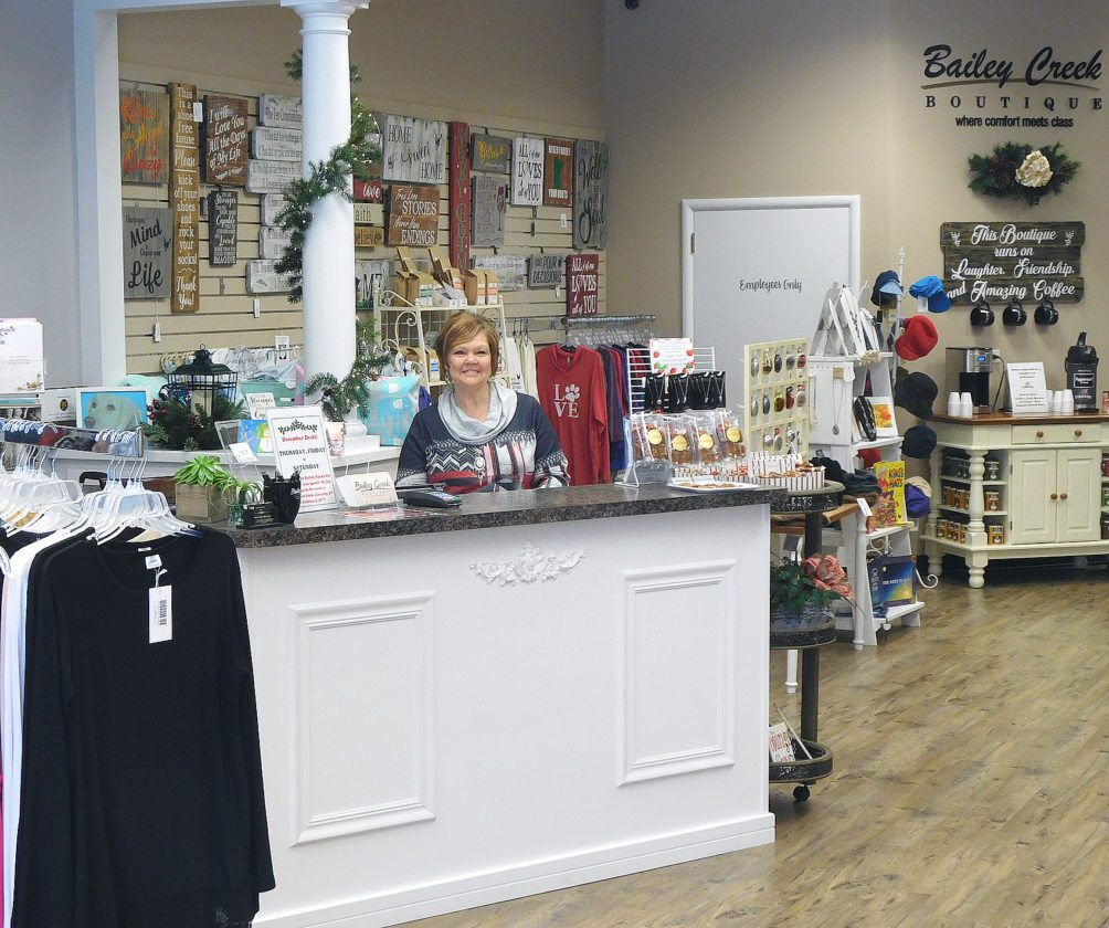 Business owner Sandy Reinke waits for customer at Bailey Creek Boutique. Reinke opened shop in the summer of 2017. (Photos by Clay Schuldt)