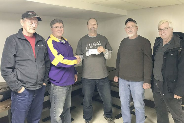 Submitted photo The Lost Dog and Fox Hunters Club on Friday donated $500 to the City of New Ulm Park and Recreation Department to assist in funding improvements to the Trap and Skeet Range at 214 21st North Street. Pictured from left are: Richard Lueck — Club member, Tom Schmitz — Park and Recreation Director, Gary Sprenger — Club President/Treasurer, Ron Peterson — Club member and Gary Klimmek Club member.