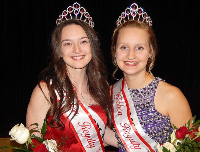 Shyla Hilbert, daughter of Nate and Jennifer Hilbert, left; and Jordan Rittig, daughter of Jeff and Melissa Rettig, were crowned 2018 Gibbon Royalty in the GFW Elementary School Gym in Gibbon Saturday night. Other candidates are Mikayla Neville, Lisette Guzman, and Madison Hoffmann. Kaitlyn Unger is 2017 Miss Gibbon.