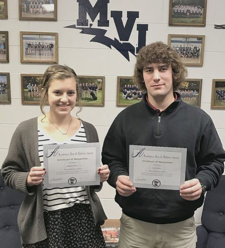 "Submitted photo Magdala Diersen, left, and John Niebuhr from Minnesota Valley Lutheran High School have been named winners of the Region 2A Triple ""A"" Award, sponsored by the Minnesota State High School League."