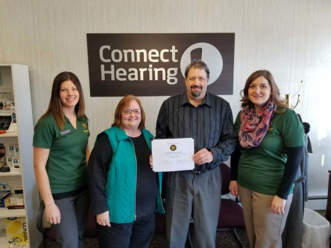 In the photo are: Brittney Schmiesing, Chuck Spaeth Ford; Kathy Ellanson and Tim Melby, Connect Hearing; Jessica Janni, Bank Midwest.