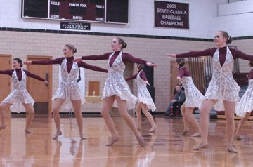 File photo by Steve Muscatello The New Ulm Cathedral Sonics Dance Team compete in a meet in December at Cathedral High School. The Sonics start the state meet on Friday at Target Center and also compete on Saturday.