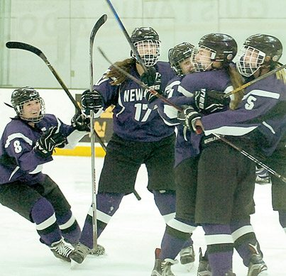 Staff photo by Steve Muscatello New Ulm's Lauren Klein (8), Madeline Gag (17), Dani Weiss (7), Ashtyn Wiltscheck (center) and Ali Beltz celebrate after Weiss scored a goal in the second period of the Eagles' win against Delan/Rockford in the Section 2A Championship game Thursday at Gustavus Adolphus College in St. Peter.