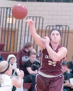 File photo by Steve Muscatello New Ulm Cathedral's Rose Hazuka makes a pass during a recent game against Sleepy Eye St. Mary's at CHS.